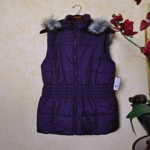 NWT New York & Company Purple Fur Lined Vest